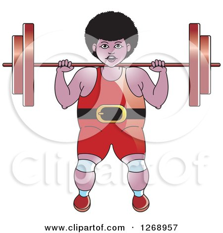 Clipart of a Black Bodybuilder Woman Working out with a Barbell - Royalty Free Vector Illustration by Lal Perera