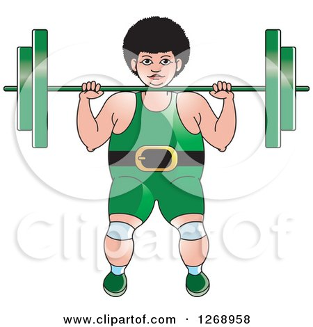 Clipart of a White Bodybuilder Woman Working out with a Barbell - Royalty Free Vector Illustration by Lal Perera