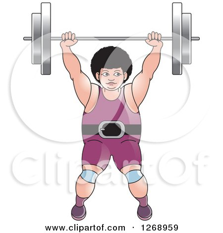 Clipart of a White Bodybuilder Woman Lifting a Barbell over Her Head - Royalty Free Vector Illustration by Lal Perera