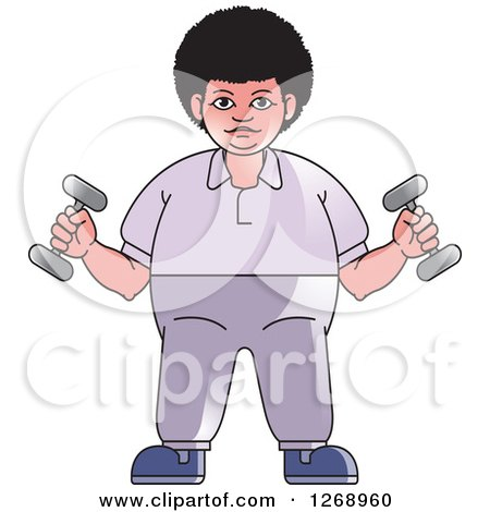 Clipart of a Woman Working out with Dumbbells - Royalty Free Vector Illustration by Lal Perera