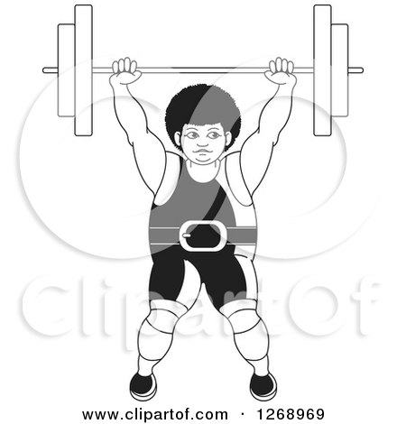 Clipart of a Black and White Bodybuilder Woman Lifting a Barbell over Her Head - Royalty Free Vector Illustration by Lal Perera