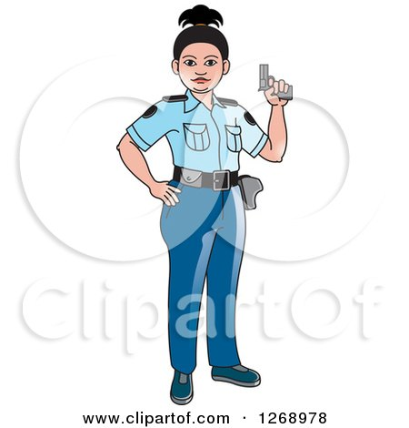 Clipart of a Slim Police Woman Holding a Pistol - Royalty Free Vector Illustration by Lal Perera
