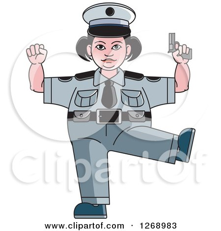 Clipart of a Chubby Police Woman Standing on One Leg and Holding a Pistol - Royalty Free Vector Illustration by Lal Perera