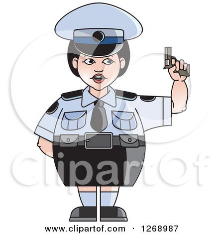 Clipart of a Chubby Police Woman in a Skirt, Holding a Pistol - Royalty Free Vector Illustration by Lal Perera