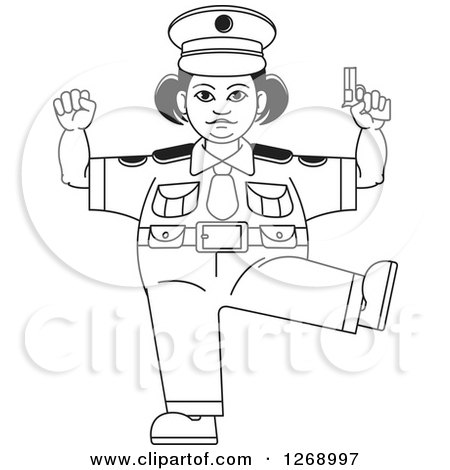 Clipart of a Black and White Chubby Police Woman Standing on One Leg and Holding a Pistol - Royalty Free Vector Illustration by Lal Perera