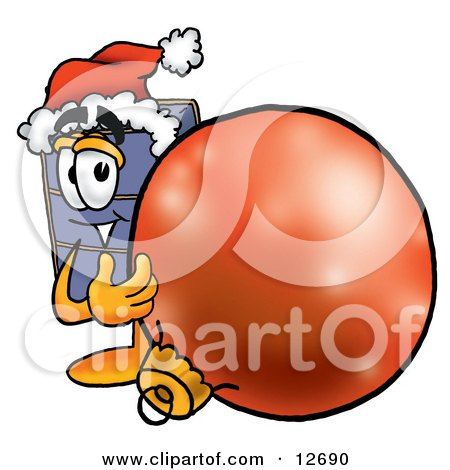 Clipart Picture of a Suitcase Cartoon Character Wearing a Santa Hat, Standing With a Christmas Bauble by Toons4Biz
