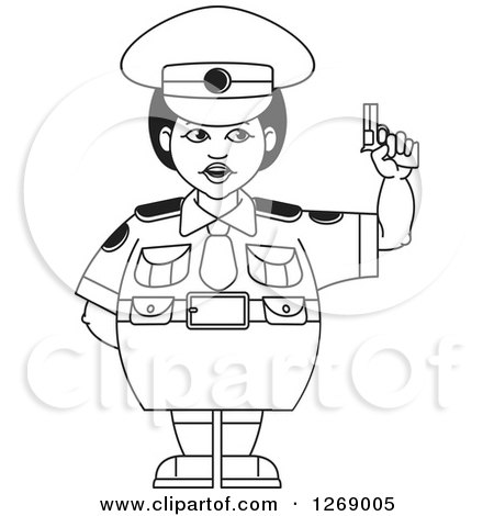 Clipart of a Black and White Chubby Police Woman in a Skirt, Holding a Pistol - Royalty Free Vector Illustration by Lal Perera