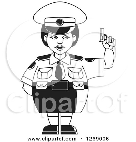 Clipart of a Black and White Chubby Police Woman in a Skirt, Holding a Pistol 2 - Royalty Free Vector Illustration by Lal Perera