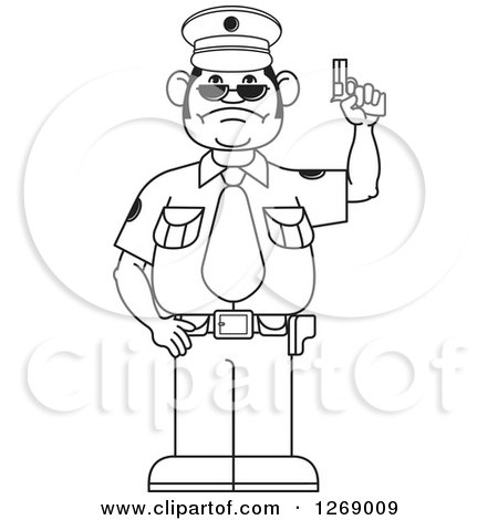 Clipart of a Black and White Police Man Holding a Firearm - Royalty Free Vector Illustration by Lal Perera