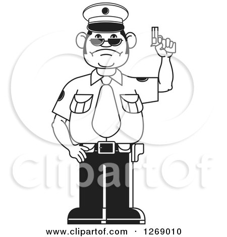 Clipart of a Black and White Police Man Holding a Firearm 2 - Royalty Free Vector Illustration by Lal Perera