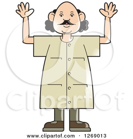 Clipart of a Senior Man Holding up Both Hands - Royalty Free Vector Illustration by Lal Perera
