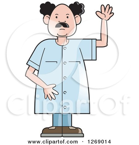 Clipart of a Senior Man Raising a Hand - Royalty Free Vector Illustration by Lal Perera