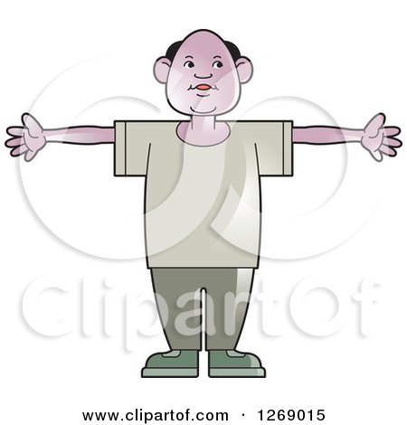 Clipart of a Senior Man Holding His Arms out - Royalty Free Vector Illustration by Lal Perera