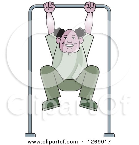 Clipart of a Senior Man Exercising on a Bar - Royalty Free Vector Illustration by Lal Perera