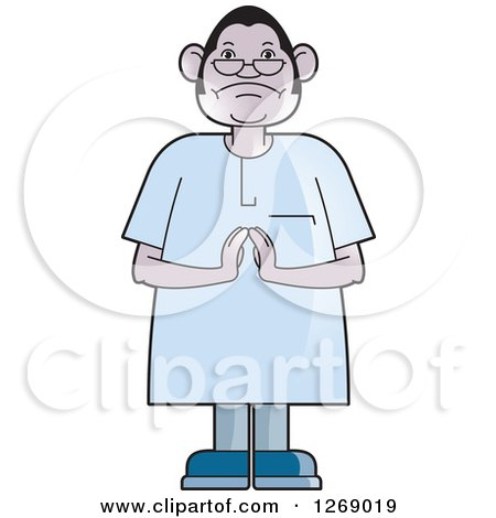 Clipart of a Senior Man Holding His Hands Together - Royalty Free Vector Illustration by Lal Perera