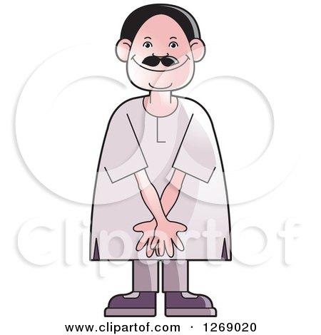 Clipart of a Senior Man Acting Shy - Royalty Free Vector Illustration by Lal Perera