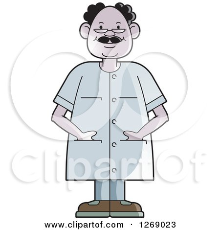 Clipart of a Senior Man Wearing Eye Glasses and Standing with His Hands in Pockets - Royalty Free Vector Illustration by Lal Perera