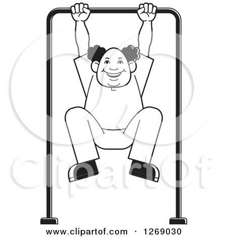 Clipart of a Black and White Senior Man Exercising on a Bar - Royalty Free Vector Illustration by Lal Perera