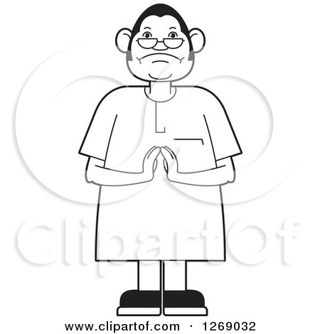 Clipart of a Black and White Senior Man Holding His Hands Together - Royalty Free Vector Illustration by Lal Perera