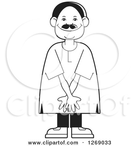 Clipart of a Black and White Senior Man Acting Shy - Royalty Free Vector Illustration by Lal Perera