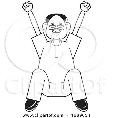 Clipart of a Black and White Senior Man Sitting and Cheering - Royalty Free Vector Illustration by Lal Perera
