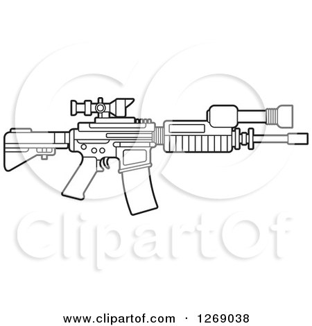 Clipart of a Black and White Outlined Assault Rifle with a Scope - Royalty Free Vector Illustration by Lal Perera