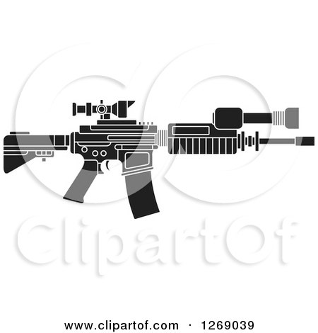 Clipart of a Black and White Assault Rifle with a Scope - Royalty Free Vector Illustration by Lal Perera