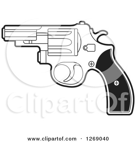 Clipart of a Black and White Pistol - Royalty Free Vector Illustration by Lal Perera
