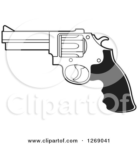 Clipart of a Black and White Pistol Gun - Royalty Free Vector Illustration by Lal Perera