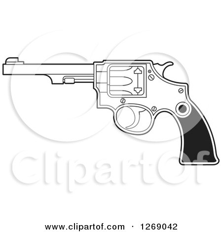 Clipart of a Black and White Revolver Pistol - Royalty Free Vector Illustration by Lal Perera