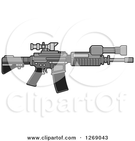 Clipart of a Grayscale Assault Rifle with a Scope - Royalty Free Vector Illustration by Lal Perera