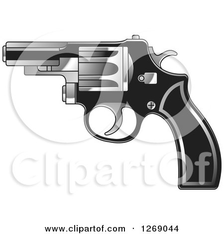 Clipart of a Black and Silver Pistol - Royalty Free Vector Illustration by Lal Perera