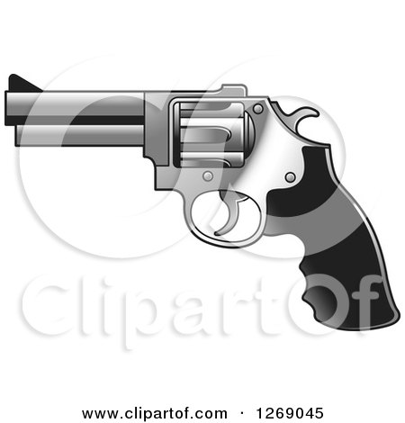 Clipart of a Black and Silver Pistol Gun - Royalty Free Vector Illustration by Lal Perera