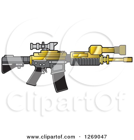 Clipart of a Gold Gray and Black Assault Rifle with a Scope - Royalty Free Vector Illustration by Lal Perera