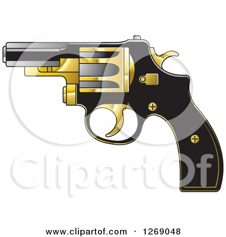 Clipart of a Black Gold and Silver Pistol - Royalty Free Vector Illustration by Lal Perera