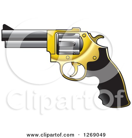 Clipart of a Black Gold and Silver Pistol Gun - Royalty Free Vector Illustration by Lal Perera