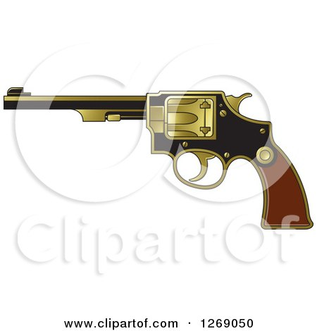 Clipart of a Black Wood and Gold Revolver Pistol - Royalty Free Vector Illustration by Lal Perera