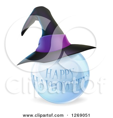 Clipart of a 3d Witch Hat on a Happy Halloween Crystal Ball - Royalty Free Vector Illustration by AtStockIllustration