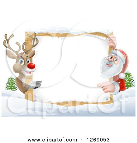 Clipart of a Reindeer and Santa Pointing Around a Christmas Wood Sign in the Snow - Royalty Free Vector Illustration by AtStockIllustration
