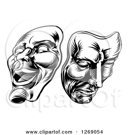 Clipart of Black and White Woodcut Comedy and Tragedy Theater Masks - Royalty Free Vector Illustration by AtStockIllustration