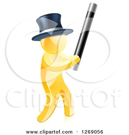 Clipart of a 3d Gold Magician Man Holding up a Magic Wand - Royalty Free Vector Illustration by AtStockIllustration