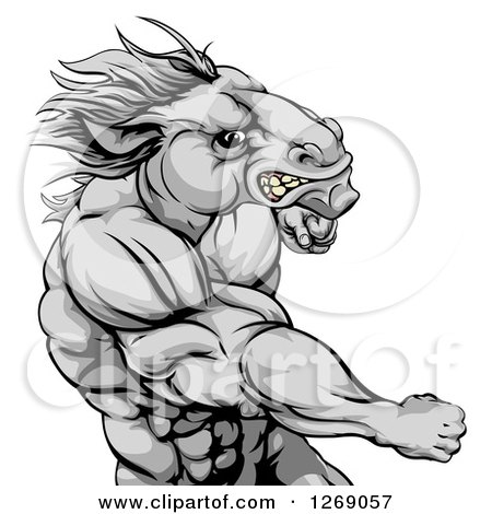 Clipart of a Tough Angry Gray Muscular Horse Man Punching - Royalty Free Vector Illustration by AtStockIllustration