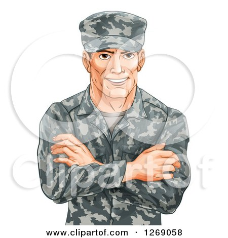 Clipart Of A Happy Caucasian Male Soldier In Camouflage With Folded Arms Royalty Free Vector Illustration