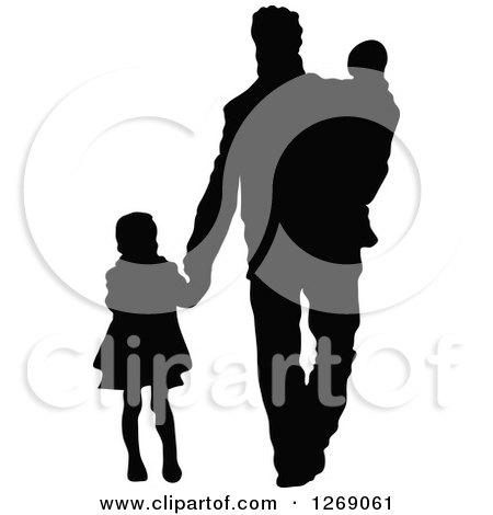clipart of a black silhouette of a daughter holding hands and walking with her father and baby brother royalty free vector illustration by pushkin