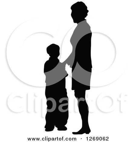 Clipart of a Black Silhouette of a Mother Standing with Her Son - Royalty Free Vector Illustration by Pushkin