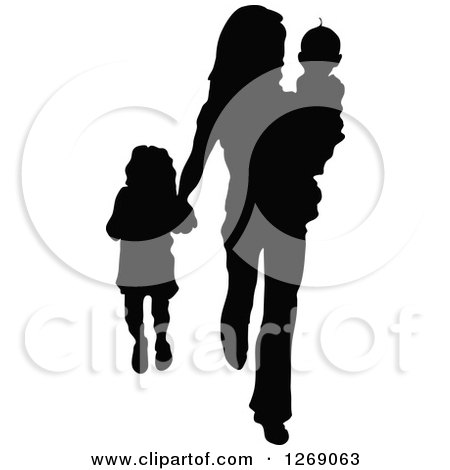 Clipart of a Black Silhouette of a Mother Carrying Her Son and Holding Hands with Her Daughter - Royalty Free Vector Illustration by Pushkin
