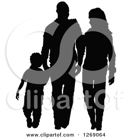 Clipart of a Black Silhouette of a Son Holding Hands and Walking with His Mother and Father - Royalty Free Vector Illustration by Pushkin