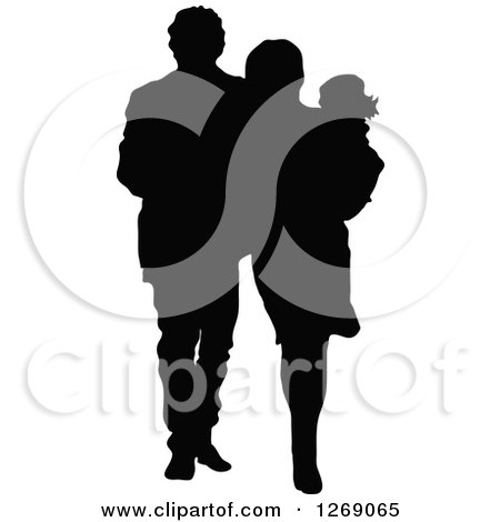 Clipart of a Black Silhouette of a Mother and Father Walking and Carrying Their Daughter - Royalty Free Vector Illustration by Pushkin