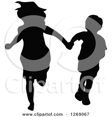 Clipart of a Black Silhouette of a Mother, or Big Sister, Holding Hands with a Boy and Running - Royalty Free Vector Illustration by Pushkin