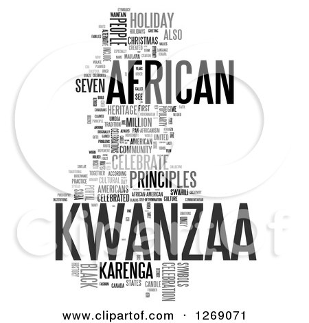 Clipart of a Gray Kwanzaa Word Tag Collage on White - Royalty Free Illustration by MacX